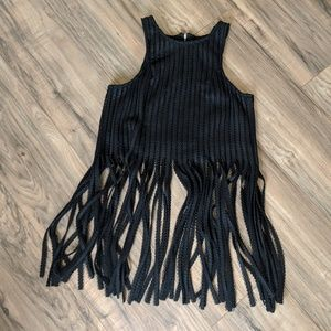 nordys Black Poetry Fringe Crop Tank